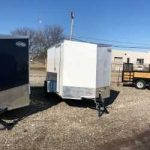 6 x 10 White Cargo Express (2019) V Nose w/Side Door Ramp Door/ Spare Tire/Spare Tire Mount and Ramp Extension $2,875