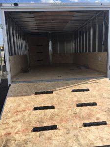 85 x 12 Cargo Express White Snow mobile/ATV Trailer 2019. Spare Tire/Rear Ramp Door/Front Ramp Door/ 6'6″ Tall inside/32″ Side Door