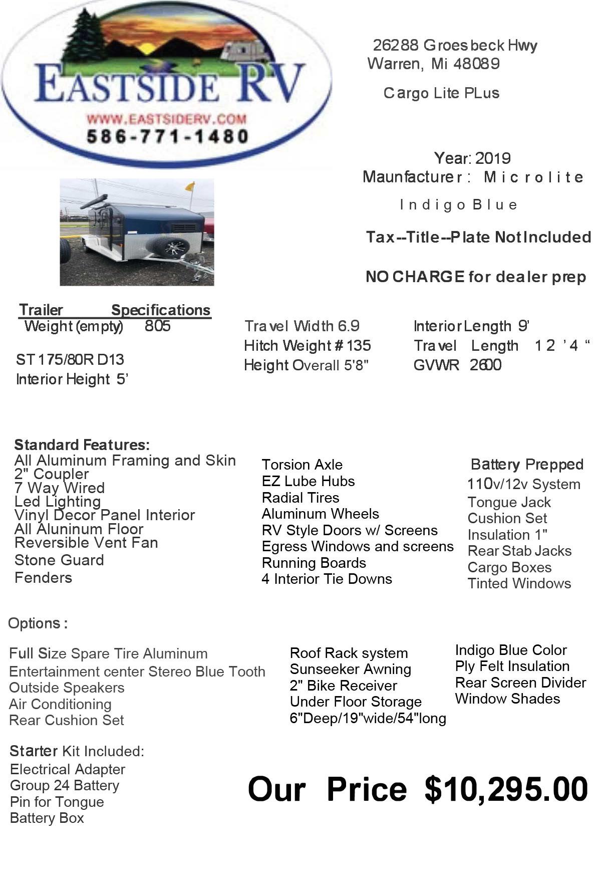 Microlite Cargo Lite Plus (2019) Indigo Blue - $10,295